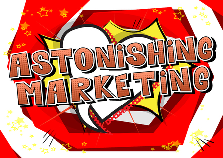 Astonishing Marketing Comic book style word vector illustration