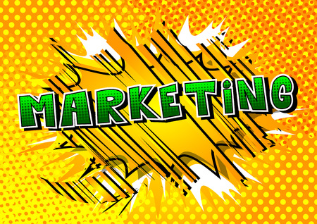 Marketing Comic book style word vector illustration Ilustração