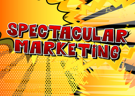 Spectacular Marketing Comic book style word vector illustration