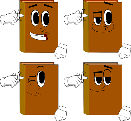 Books shows a youre nuts gesture by twisting his finger around his temple. Cartoon book collection with happy faces. Expressions vector set.