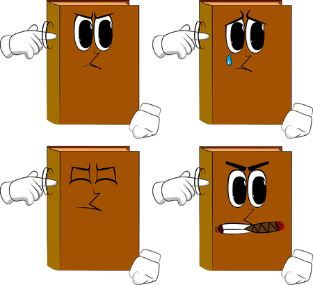 Books shows a youre nuts gesture by twisting his finger around his temple. Cartoon book collection with angry and sad faces. Expressions vector set.