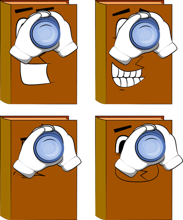 Books holding binoculars in his hands. Cartoon book collection with happy faces. Expressions vector set.