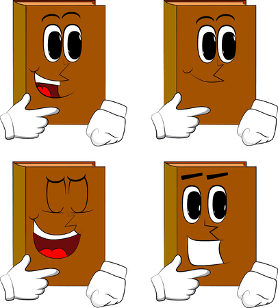 Books thinking or pointing to his left side. Cartoon book collection with happy faces. Expressions vector set.
