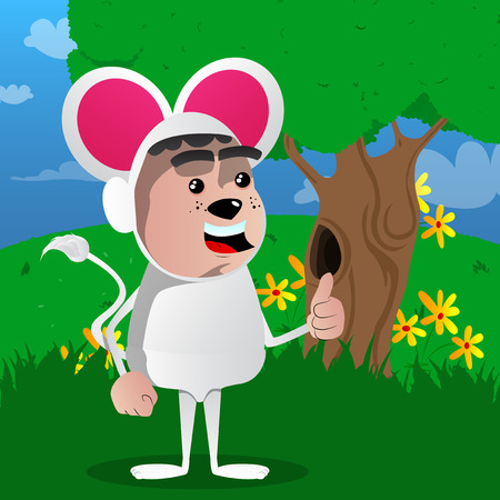 Boy dressed as mouse making thumbs up sign. Vector cartoon character illustration.