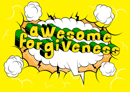 Awesome Forgiveness Comic book style phrase vector illustration  イラスト・ベクター素材