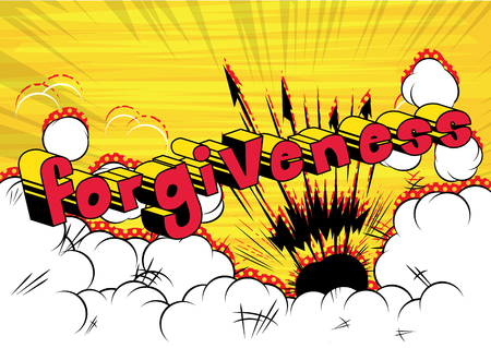Forgiveness Comic book style phrase vector illustration