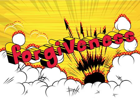 Forgiveness Comic book style phrase vector illustration