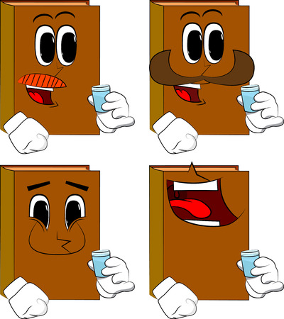 Books drinking brandy. Cartoon book collection with happy faces. Expressions vector set.