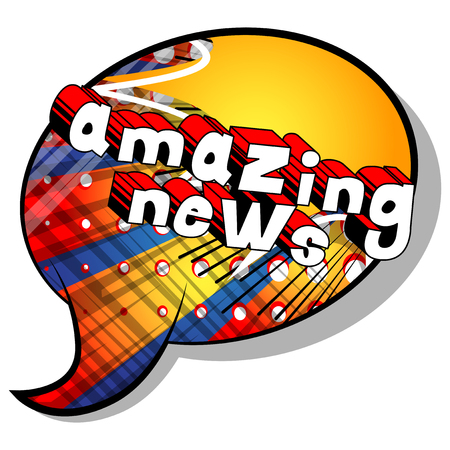 Amazing News - Comic book style phrase on abstract background.