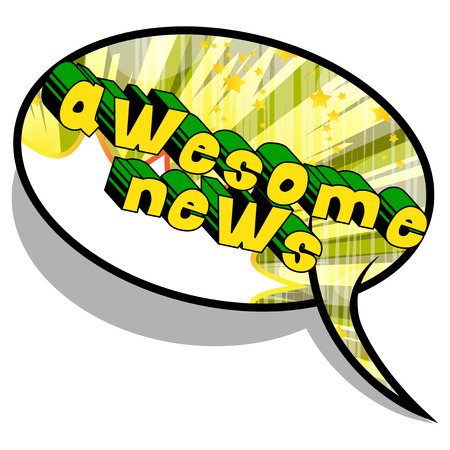 Awesome News - Comic book style phrase on abstract background. Ilustração