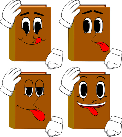 Books placing hand on head. Cartoon book collection with happy faces. Expressions vector set.