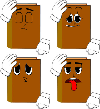 Books placing hand on head. Cartoon book collection with sad faces. Expressions vector set.