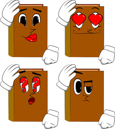 Books placing hand on head. Cartoon book collection with various faces. Expressions vector set.