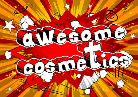Awesome Cosmetics - Comic book style phrase on abstract background.