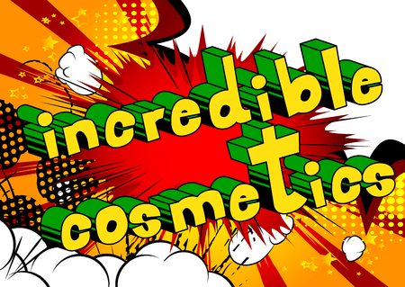 Incredible Cosmetics - Comic book style phrase on abstract background. 写真素材 - 101092036