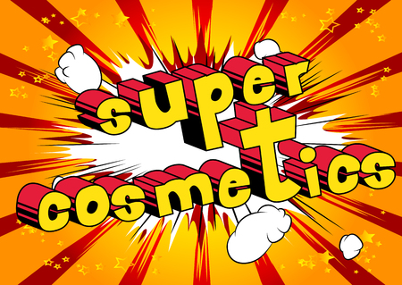 Super Cosmetics comic book style phrase on abstract background.