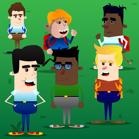 Boys in the yard standing and running. Vector cartoon character illustration.