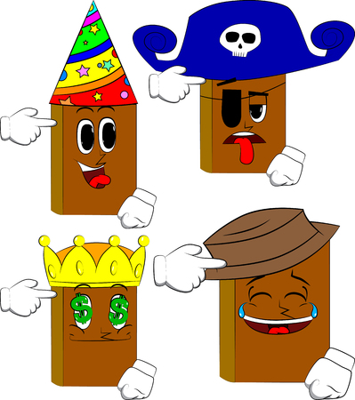 Books puting an imaginary gun to his head. Cartoon book collection with costume faces. Expressions vector set. 일러스트