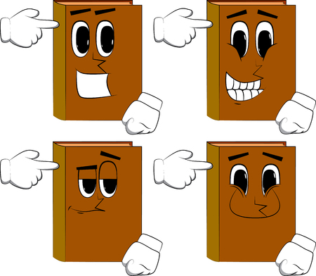 Books puting an imaginary gun to his head. Cartoon book collection with happy faces. Expressions vector set.