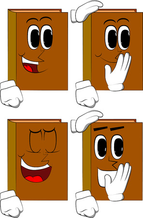 Books comforting another. Cartoon book collection with happy faces vector set.  イラスト・ベクター素材