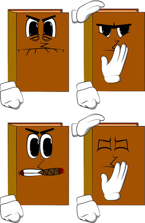 Books comforting another. Cartoon book collection with angry faces. vector set. Çizim