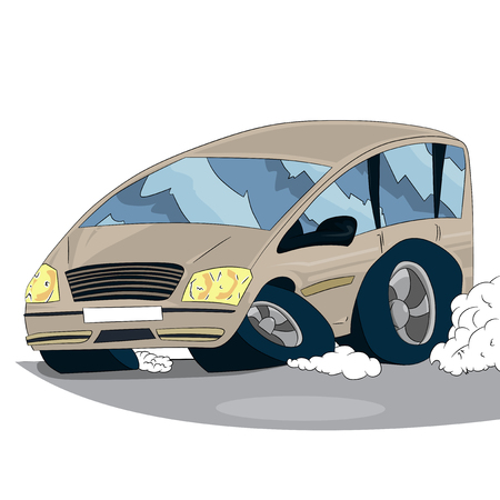 Vector illustrated cartoon car on white background.
