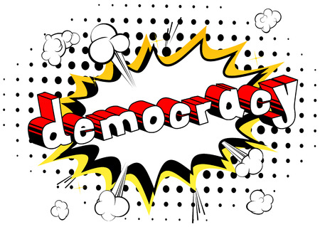 Democracy - Comic book style phrase on abstract background. Çizim
