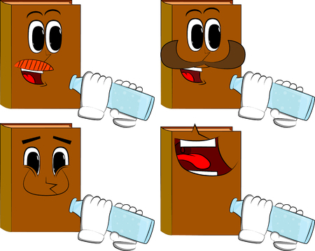 Books drinkig water from a glass bottle. Cartoon book collection with happy faces. Expressions vector set.