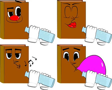 Books drinkig water from a glass bottle. Cartoon book collection with various faces. Expressions vector set.