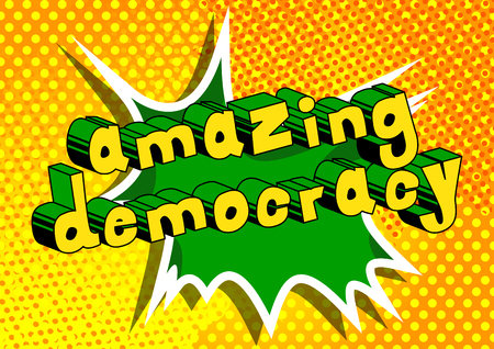 Amazing Democracy - Comic book style phrase on abstract background. Çizim