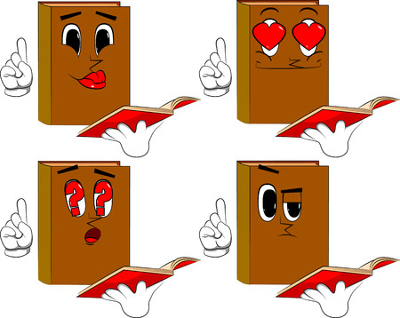 Books reading a red book and making a point. Cartoon book collection with various faces. Expressions vector set.