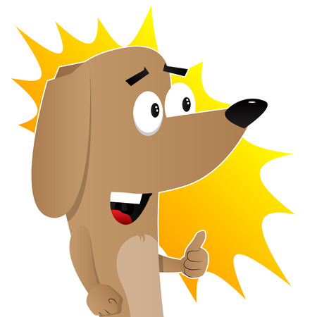 Cartoon illustrated I like dog showing thumb up sign. Çizim