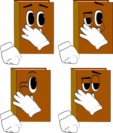 Books holding his nose because of a bad smell. Cartoon book collection with happy faces. Expressions vector set.