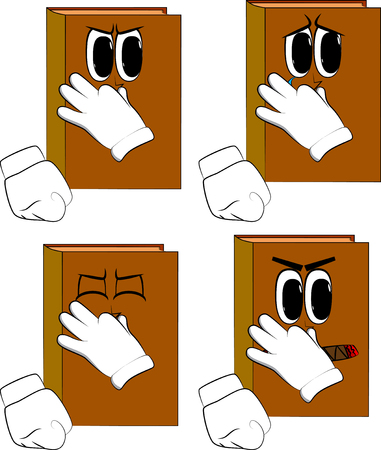 Books holding his nose because of a bad smell. Cartoon book collection with angry and sad faces. Expressions vector set.