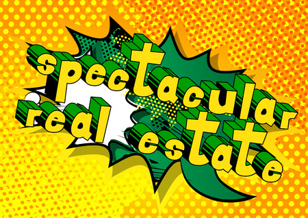 Spectacular Real Estate - Comic book style phrase on abstract background. Çizim