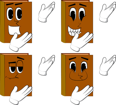 Books showing something with both hands, powerful hand gesture. Cartoon book collection with happy faces. Expressions vector set.