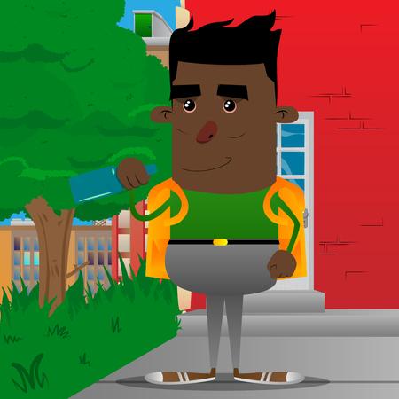 Schoolboy holding a bottle. Vector cartoon character illustration.