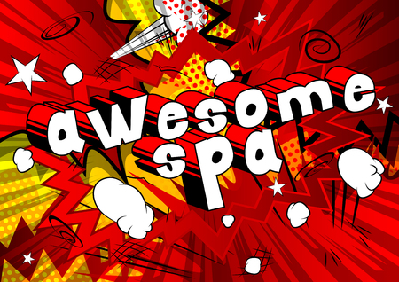 Awesome Spa - Comic book style phrase on abstract background.