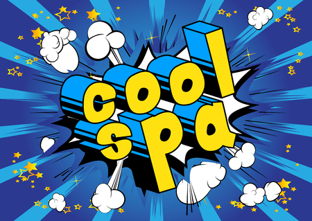 Cool Spa - Comic book style phrase on abstract background. Illustration