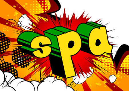Spa - Comic book style phrase on abstract background. Illustration