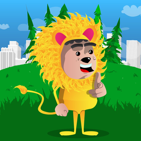 Boy dressed as lion pointing at the viewer with his hand. Vector cartoon character illustration.