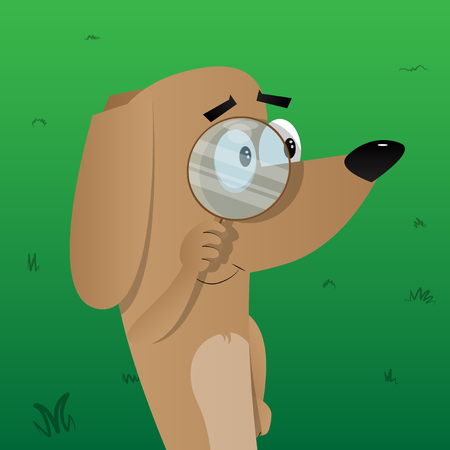 Cartoon illustrated dog holding a magnifying glass.