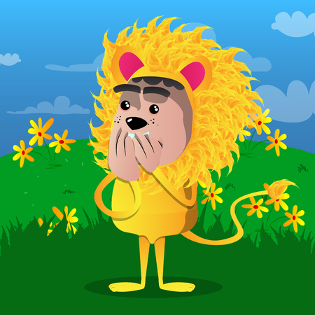 Boy dressed as lion with hands over mouth. Vector cartoon character illustration. Stock Illustratie