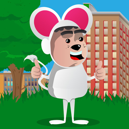 Boy dressed as mouse making thumbs up sign with two hands. Vector cartoon character illustration.