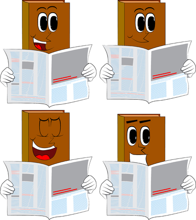 Books reading newspaper. Cartoon book collection with happy faces. Expressions vector set.