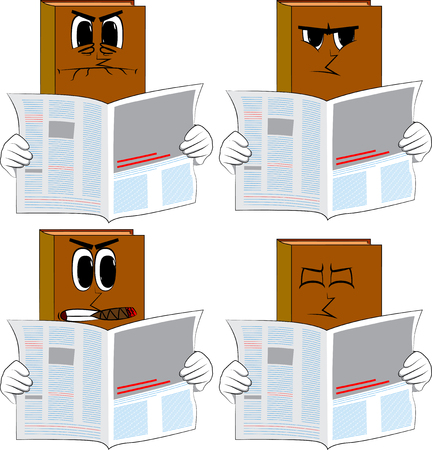 Books reading newspaper. Cartoon book collection with angry faces. Expressions vector set. Illustration