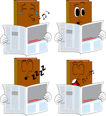 Books reading newspaper. Cartoon book collection with various faces. Expressions vector set.