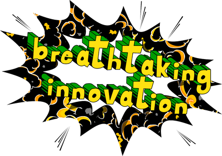 Breathtaking Innovation - Comic book words on abstract background.