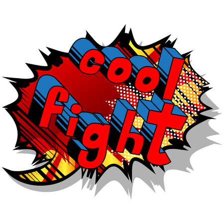 Cool Fight - Comic book word on abstract background.