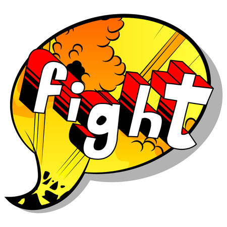 Fight - Comic book word on abstract background. Archivio Fotografico - 102311466